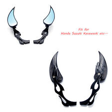 Motorcycle Cruiser Teardrop Flame Rear View Mirrors 8MM 10MM For Chopper Big Dog
