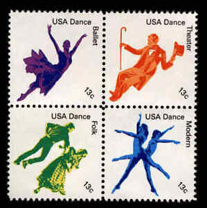 American Dance Ballet Folk Se-tenant Block of 4 mnh stamps 1978 USA #1752a