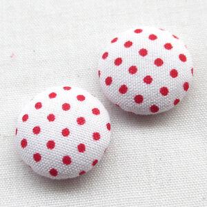 100pcs Polka Dot Flatback Fabric Covered Button Scrapbooking Craft T0892