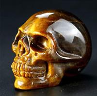 2'' Natural Tiger Eye Crystal Skull Specimen Hand Carved Quartz Healing Reiki