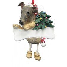 Greyhound Brindle Dangling Wobbly Leg Dog Bone Christmas Ornament