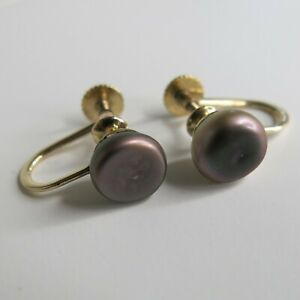14K Yellow Gold Earrings Black Pearls Screw Back 2.3g [5103]