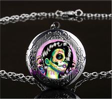 Sugar Skull Girl Photo Cabochon Glass Gun Black Locket Pendant Necklace