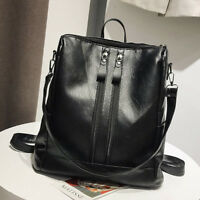 Large Capacity Leather Women Backpack Double Zipper School Satchel Bag Pretty US