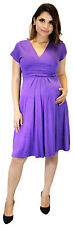 Short Sleeve Maternity Dress Empire Waist Work Attire Elegant Solid