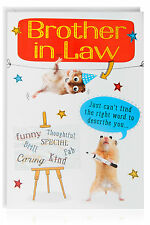 BROTHER IN LAW Birthday Funny Humour Joke Card Greetings Animal - OTC7524