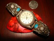 Vintage Navajo Sterling Silver Watch Bracelet.925 (Watch Included)