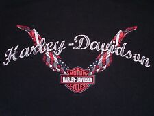 New listing Womens Black Harley Davidson Signature T-Shirt-Hammond, La-Flags-Wings-Trademark