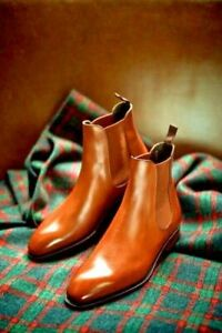 Handmade Men's Genuine Tan Leather Chelsea Ankle Dress Formal Casual Jumper Boot