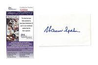 BRAVES Warren Spahn signed 3x5 index card JSA COA AUTO Autographed Milwaukee HOF