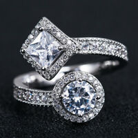 Women Fashion 925 Silver Jewelry Round Cut White Sapphire Wedding Ring Size 6-10