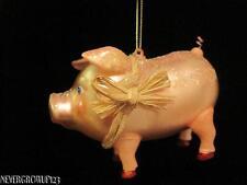 BLOWN GLASS FARM PIG~HOLIDAY~CHRISTMAS ORNAMENT~NWT