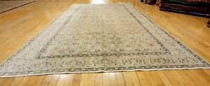 Antique 1940's Muted Natural Dye Distressed Wool Pile Oushak Area Rug 7x10ft