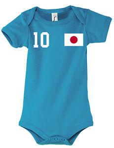 Fußball EM WM Baby Strampler Body Trikot Japan mit WUNSCHNAME + NUMMER