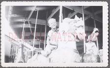 Vintage Photo Cute Boy Riding Carousel Horse Merry Go Round 676389