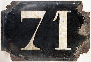 Large old black French house number 71 door gate plate plaque enamel metal sign