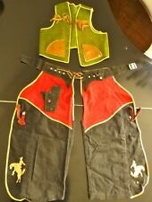 Vintage Children's Handmade Cowboy Outfit: Chaps & Waistcoat - Wow!