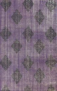 Geometric Oushak Oriental Area Rug Contemporary Hand-knotted Wool Purple 8x11