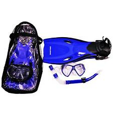 BLUE Silicon Fins Flippers & Snorkel Set Scuba Diving Adult 6-10-5 EU 36/44 SWIM
