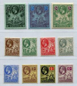 KGV BARBADOS 1912 VERY GOOD SET SCOTT 116-126 SG 170-180 PERFECT MVLH
