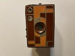 Vintage Kodak Beau Brownie No. 2A BROWN Art Deco Box Camera NO STRAP
