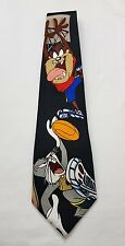 Looney Tunes Mens Neck Tie Black Bugs Bunny Taz Tiger Play Basket Ball Sport