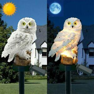 "2x LED Solarleuchte Solar-Leuchte Gartenstecker ""Eule"", naturgetreu, weiß, 45 cm"