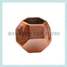 Modern Geometric Vase Copper Ceramic Decor Contemporary Vase Flower Decorative