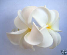 Hawaiian Hawaii Bridal Wedding Foam 2-Flower Hair Clip White Yellow Plumeria