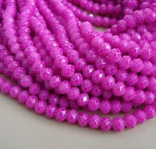 15inch- Magenta Quartz Glass Faceted Rondelle Beads...8x6mm..