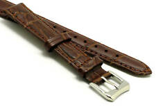 14mm Brown Crocodile Grain Leather Watch Band Steel Buckle and Spring Bar
