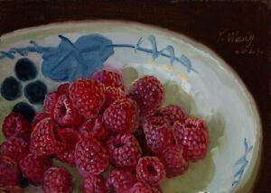 small original oil painting realism still life raspberries fruit Y Wang 7x5 inch