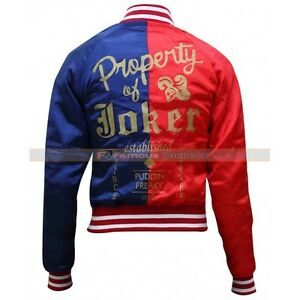 Suicide Squad Red & Blue Halloween Harley Quinn Bomber Ladies Jacket Cosplay