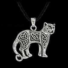 "Cat Egyptian Celtic pendant 20"" Sterling Silver 925 necklace chain female men"