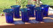 6 Pairpoint Cobalt Blue Art Glass Juice Glasses