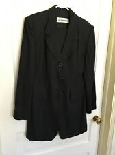Liz Claiborne Women's Black Skirt Suit Long Duster Jacket Linen Look VTG Sz 10