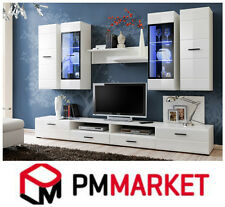 Living Room High Gloss white Furniture Display Wall Unit TV Unit Cabinet Amelia
