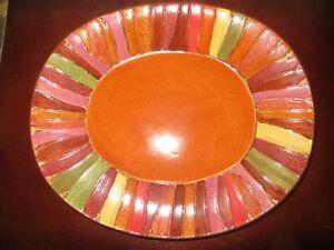 "- Pier 1 WAVY STRIPE 12"" Multi-Color Nature Tones Oval Serving Platter NEW !"