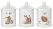Royal Worcester Wrendale Designs Tea Coffee Sugar Storage Jars