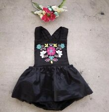 Baby Girl Toddler Floral Flower Embroidery Petti Romper One-pieces Tulle Dress