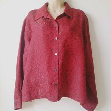 Chicos Design Womens Size 2 Plus Red Black Pattern Button Dress Shirt Blouse A5
