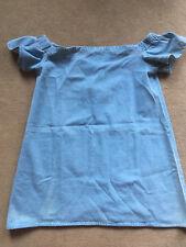 Boohoo Blue Denim off Shoulder Bardot Dress Size 10