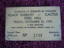 Bruce Springsteen Black Sabbath Authentic Ticket 1970 Sunshine In Asbury Park