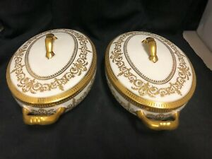 PAIR OF ANTIQUE WHITE AND GOLD FRENCH LIMOGES   PORCELAIN COVERED ENTREE DISHES