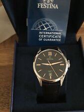 Festina Leather Men's Watch F20426/6 Wrist Watch Sport Black Classic Uf20426/6