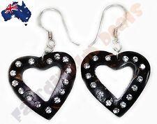 Organic Wood Heart  Earings With Diamond Like Rhinestones