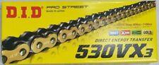 DID 530 Vx3 Gold/black 126 Links Rivet Link Motorcycle Chain