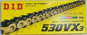 DID 530 VX3 Gold/Black 126 Links Rivet Link Motorcycle Chain