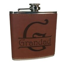 6oz Stainless Steel & Leather Hip Flask - Grandad