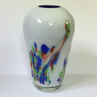 Hand Blown Cased Art Glass Vase Abstract Rooster Peacock White Blue Multicolored